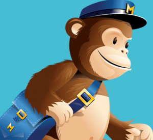 Monkey wearing Hat and carrying messenger bag with Mailchimp logo