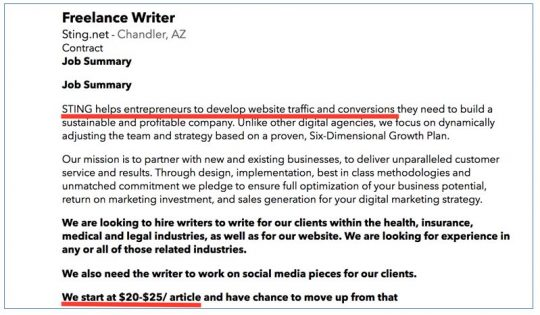 Super low pay. Sign an agency is a content mill