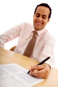 Freelance writer signs contract